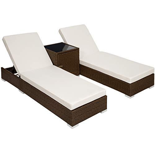TecTake 2X Aluminium Polyrattan Sonnenliege + Tisch Gartenmöbel Set - inkl. 2 Bezugsets + Schutzhülle, Edelstahlschrauben - Diverse Farben -