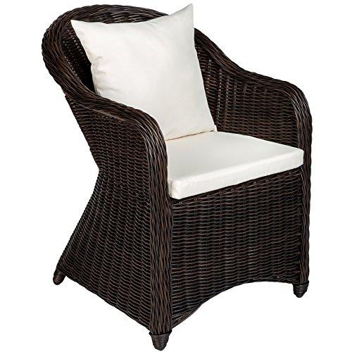 TecTake Luxus Alu Gartenstuhl Polyrattan Korbsessel inkl. Sitzkissen und Rückenkissen - Diverse Farben -