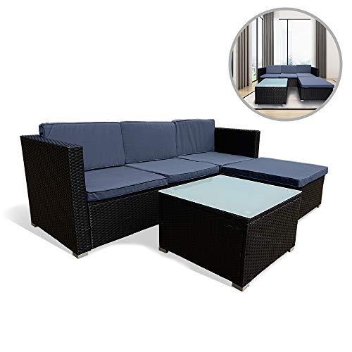 UISEBRT Gartenmöbel Poly Rattan Balkonmöbel Lounge Set - Mit Sofa, Eckstuhl,Hocker,Tisch und Anthrazit Sitzkissen