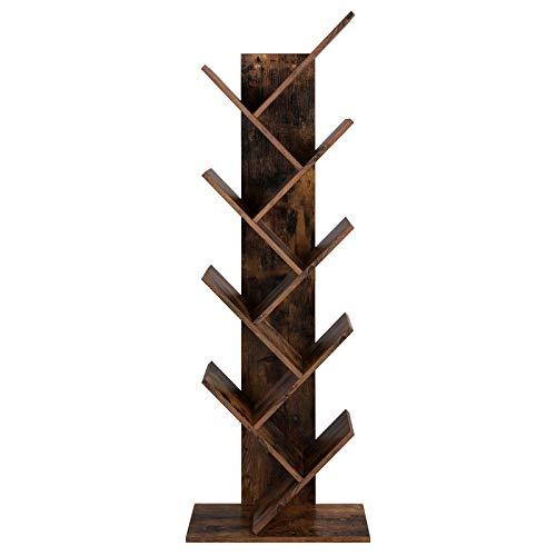 VASAGLE Bücherregal, 8 Ebenen, Baumform, Standregal, CD Regal aus Holz für Wohnzimmer, Büro