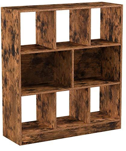VASAGLE Bücherregal, Standregal aus Holz mit offenen Fächern, Vitrine für Wohnzimmer, Schlafzimmer, Kinderzimmer und Büro, 86 x 28 x 94,5 cm (L x B x H), Vintage, Dunkelbraun LBC52BX