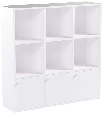 VASAGLE Bücherregal aus Holz, Aufbewahrungsregal,für Zuhause oder Büro, Ausstellungsregal, freistehendes DVD-Regal, Bücherschrank mit 3 Türen, Weiß LBC33WT