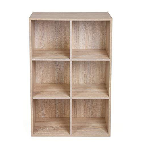 VASAGLE Bücherregal mit 6 Fächern, Holzregal, Würfelregal, Aufbewahrungsregal, 65,5 x 97,5 x 30 cm