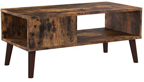 VASAGLE Couchtisch im Retro-Stil, Kaffeetisch im 50/60er Jahre Look, Wohnzimmertisch mit großer Ablage, Sofatisch, Retro-Möbel für Ihr Wohnzimmer, Foyer, einfacher Aufbau, Holzoptik LCT09BX