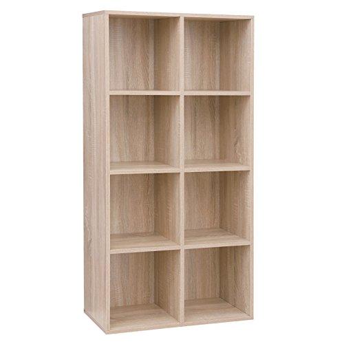 VASAGLE Regal mit 8 Fächern, Bücherregal aus Holz, als Dekoregal, freistehende Schrank, für Büro, Zuhause