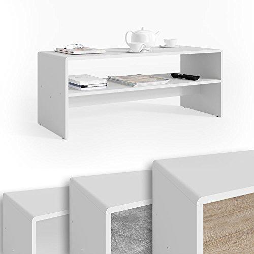 Vicco Couchtisch mit Ablage weiß - Wohnzimmer Sofatisch Kaffeetisch Beistelltisch 100 x 40 cm - Top Deisgn MDF