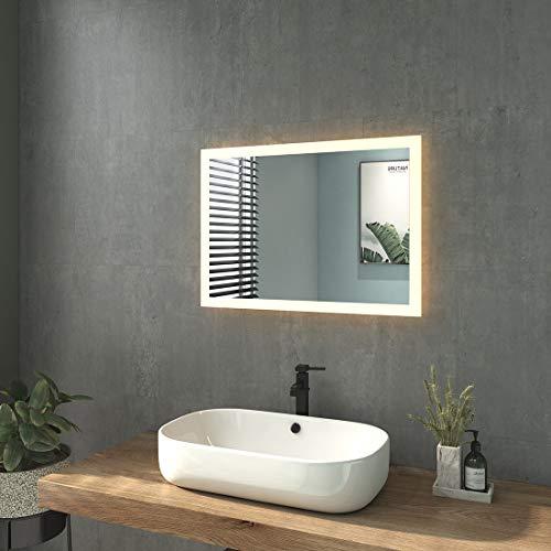 WELMAX Badspiegel mit Beleuchtung Wandspiegel Badezimmerspiegel mit Beleuchtung LED Badspiegel IP44 Energiesparend Energieklass A++