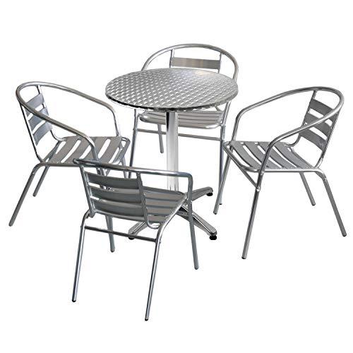 Wohaga 5tlg. Bistromöbel-Set Bistrotisch Ø60cm einklappbar mit Niveauausgleich + 4X Bistrostuhl stapelbar Aluminium Silber - Bistromöbel Balkonmöbel Gartenmöbel