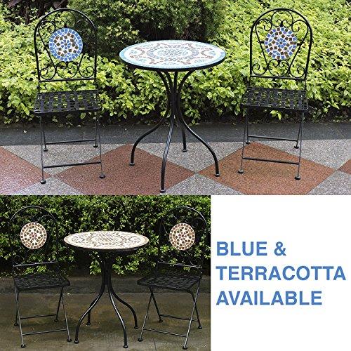 Woodside - Gartenmöbel-Set - Tisch und Klappstühle mit Mosaikdesign