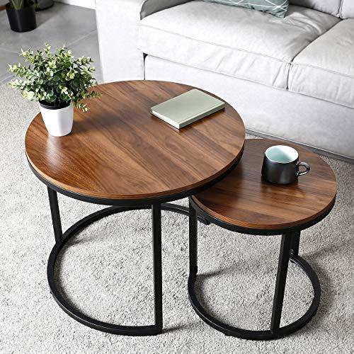 amzdeal Runder Couchtisch 2er Set, Kaffeetische Beistelltische für Wohnzimmer Schlafzimmer, Stabile und Einfache Montage, Hölzerne Tischplatte mit Metallrahmen - 60,4×51cm | 40,2×42,5cm