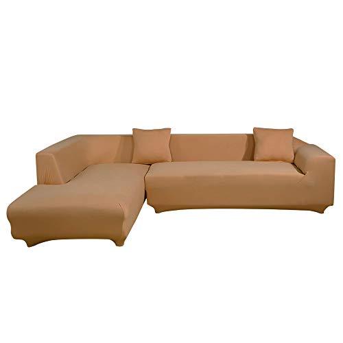 ele ELEOPTION Sofa Überwürfe elastische Stretch Sofa Bezug 2er Set 3 Sitzer für L Form Sofa inkl. 2 Stücke Kissenbezug