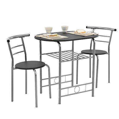 [en.casa] Bistro-Set Schwarz/Grau Tisch- und Stuhlset Sitzgruppe Esstisch+Stühle