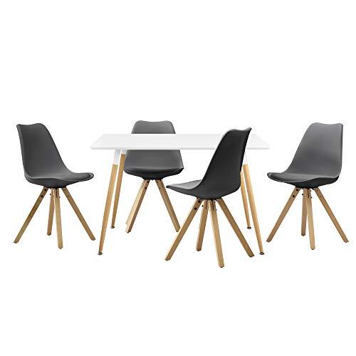 [en.casa] Esstisch 'Celine' mit 4 Stühlen gepolstert Kunstleder Esszimmer Essgruppe Küche