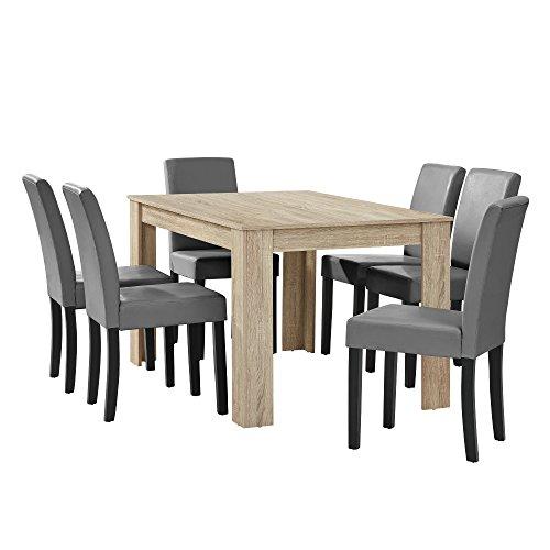 [en.casa] Esstisch Eiche hell mit 6 Stühlen hellgrau Kunstleder gepolstert 140x90 Essgruppe Esszimmer