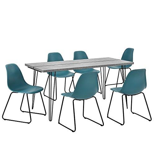 [en.casa] Esstisch mit Hairpinlegs - Beton-Optik - 160cm x 75cm x 77 + 6 x Design-Stuhl - Türkis - im Set