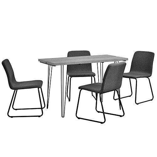 [en.casa] Esstisch mit Stühlen dunkelgrau