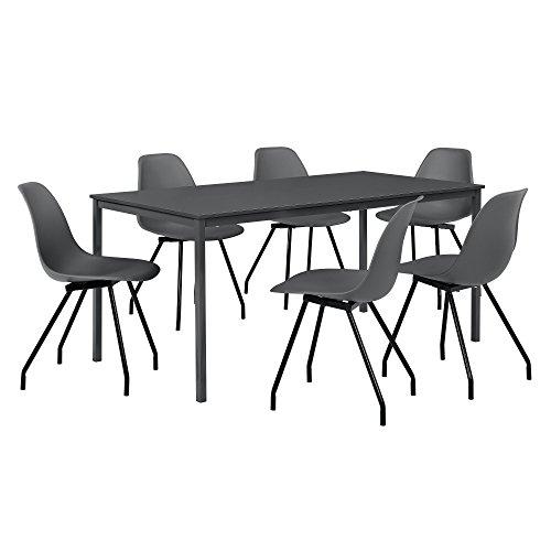 [en.casa] Esszimmerset mit Tisch und 6 Stühlen