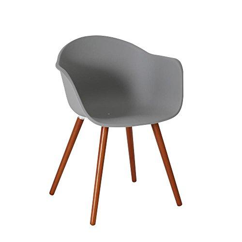 greemotion Stuhl Derby mit Holzbeinen, Kunststoffschale mit Armlehnen, 52 x 81 x 58 cm, max. 110 kg, in grau, in verschiedenen Ausführungen