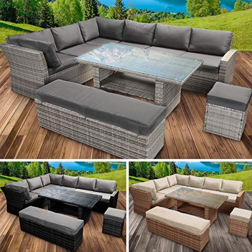 BRAST Poly-Rattan Gartenmöbel Essgruppe Lounge Set Sitzgruppe Outdoor Möbel Garten Garnitur Sofa Holidays 3 Farben