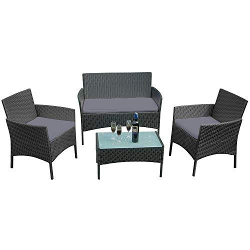 LeMeiZhiJia Balkon Möbel Set Gartengarnitur Rattan Lounge Set Anthrazit Polyrattan Gartengarnitur inkl. 1 Bank + 2 Stühle + 1 Tisch mit Glasplatte und 8 cm Rückenkissen, für Garten, 4 Personen