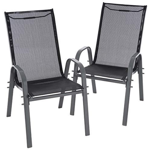 Nexos 2er Set Gartenstuhl Camping Stapelstuhl Hochlehner Terrassenstuhl - Textilene Stahl stapelbar - Bespannung schwarz Rahmenfarbe wählbar grau anthrazit