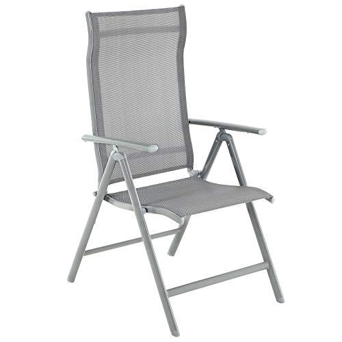 SONGMICS Gartenstühle, Klappstühle, Outdoor-Stühle mit robustem Aluminiumgestell, Rückenlehne 8-stufig verstellbar, bis 150 kg belastbar