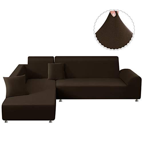 TAOCOCO Sofa Überwürfe Sofabezug Elastische Stretch für L-Form Sofa Abdeckung 2er Set für 3 Sitzer + 3 Sitzer mit 2 Stücke Kissenbezug