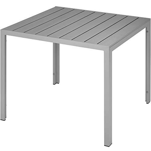 TecTake 800587 Gartentisch, Wetterfest, aus Aluminum und Kunststoff, Paneee in Holzoptik, Zwei höhenverstellbare Füße | Diverse Farben