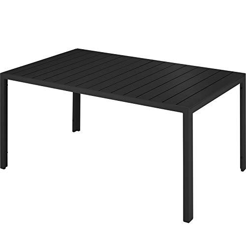 TecTake 800716 Gartentisch mit stabilem Aluminiumrahmen, Holzoptik, Zwei höhenverstellbare Füße, belastbare Tischoberfläche, pflegeleicht, 150 x 90 x 74,5 cm - Diverse Farben -