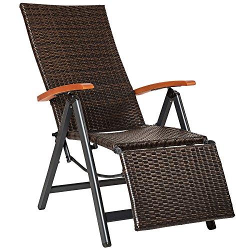 TecTake 800720 Aluminium Poly Rattan Relaxsessel mit Fußablage, klappbar & verstellbar, für Garten, Balkon & Terrasse, Gartenstuhl, witterungsbeständig - Diverse Farben -