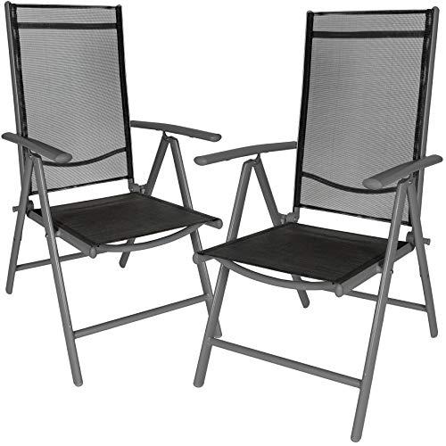 TecTake Aluminium Klappstuhl Gartenstuhl Set verstellbar mit Armlehnen - Diverse Farben und Mengen