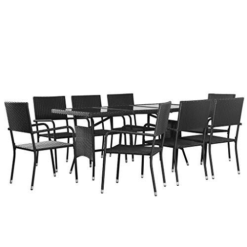 Tidyard 9-teilige Garten-Essgruppe Sitzgruppe 8 Stapelbare Stühle & 1 Tisch I Gartenmöbel Sitzgarnitur Set,Poly Rattan Schwarz