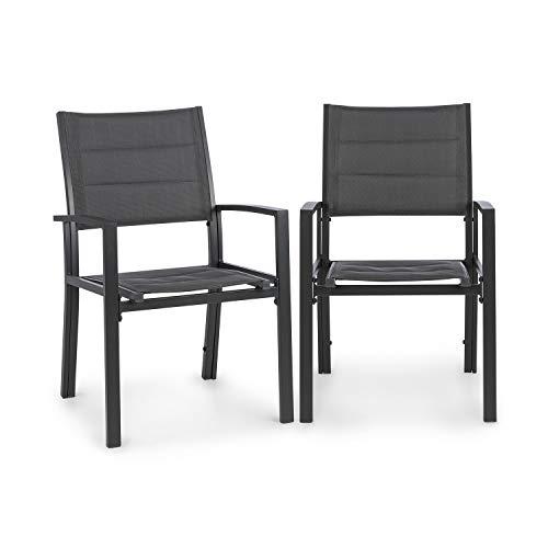 blumfeldt Torremolinos Gartenstühle - 2 Stück, Rahmen: Aluminium, ComfortMesh, Sitzfläche: 40 x 43 cm, wasserabweisend, ClassicComfort Polsterung