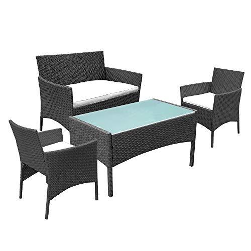 wolketon Gartenmöbel Set Poly Rattan Balkonmöbel Sitzgruppe Langlebig Lounge Set Mit 2-er Sofa, Singlestühle, Tisch und Sitzkissen
