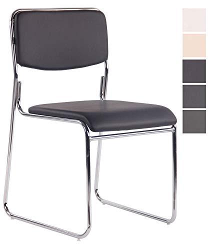 CLP Besucherstuhl Kahla mit hochwertiger Polsterung und Kunstlederbezug I Stapelstuhl mit gepolsterter Sitzfläche und Rückenlehne, Farbe:braun