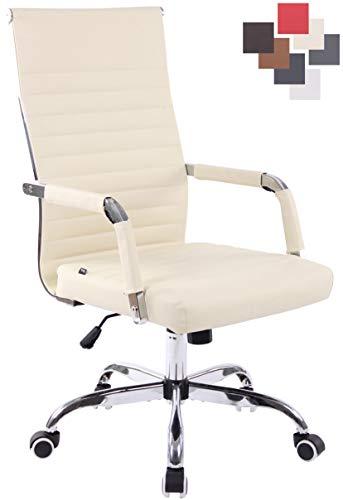 CLP Bürostuhl Amadora Kunstleder Mit Leichtlaufrollen | Chefsessel Mit Lehne | Höhenverstellbarer Ergonomischer Bürosessel, Farbe:Creme