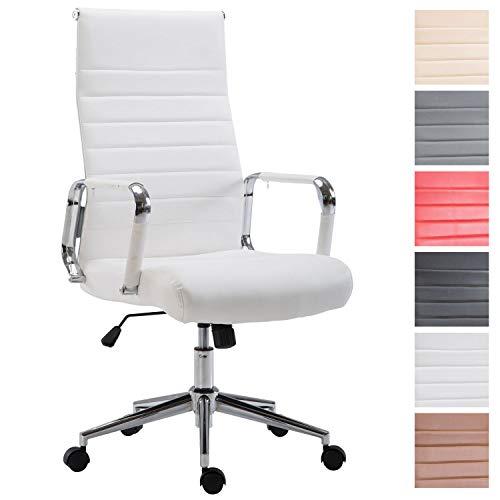 Drehstuhl KOLUMBUS mit Kunstlederbezug I Chefsessel mit stufenloser Sitzhöhenverstellung I Bürosessel mit Laufrollen, Farbe:weiß