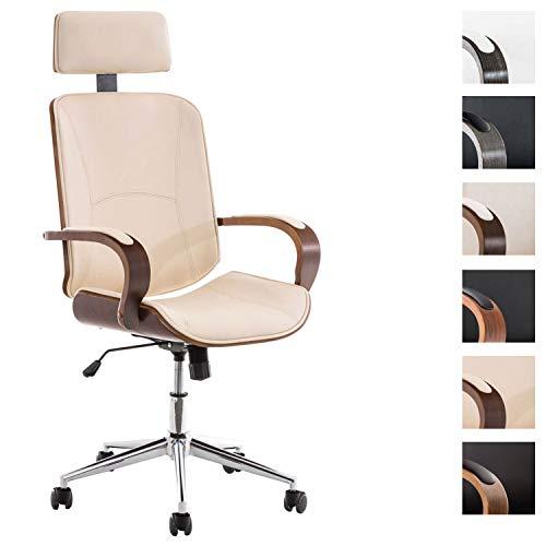 Chefsessel Dayton mit Kunstlederbezug I Bürostuhl mit Kopfstütze und Leichtlaufrollen I Höhenverstellbarer Schreibtischstuhl, Farbe:walnuss/Creme