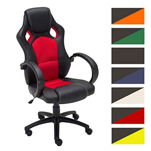 CLP Gaming Bürostuhl Fire Kunstleder I Höhenverstellbarer Drehstuhl Mit Kopfstütze Und Armlehnen | Pflegeleichter Schreibtischstuhl, Farbe:rot