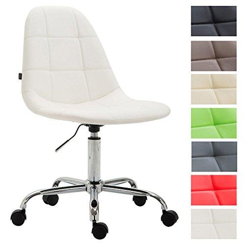 Bürostuhl Reims Mit Kunstlederbezug I Schreibtischstuhl Mit Laufrollen Und Gestepptem Sitz I Höhenverstellbarer Drehstuhl, Farbe:weiß