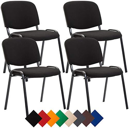 CLP 4er Set Besucherstuhl Ken Stoff I Stapelstuhl Mit Robustem Metallgestell I Polsterstuhl Mit Rückenlehne, Farbe:schwarz