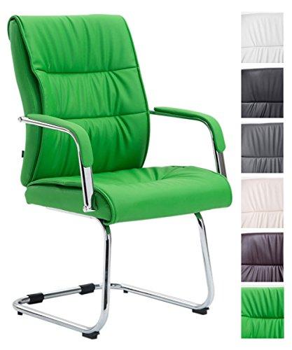 CLP Freischwingerstuhl Sievert Mit Polsterung Und Kunstlederbezug I Konferenzstuhl Mit Armlehne, Farbe:grün