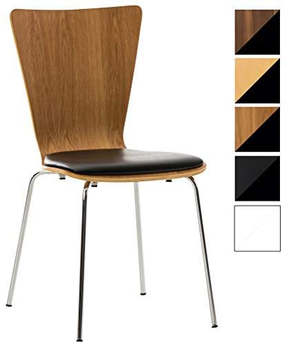 Stapelstuhl Aaron mit Kunstledersitz und stabilem Metallgestell I Platzsparender Konferenzstuhl mit ergonomisch geformter Sitzfläche, Farbe:Eiche/schwarz