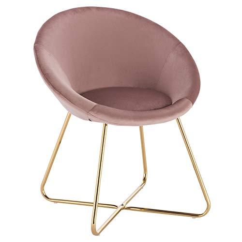 WOLTU® Esszimmerstühle BH217rs-1 1x Küchenstuhl Polsterstuhl Wohnzimmerstuhl Sessel, Sitzfläche aus Samt, Goldene Metallbeine, Rosa