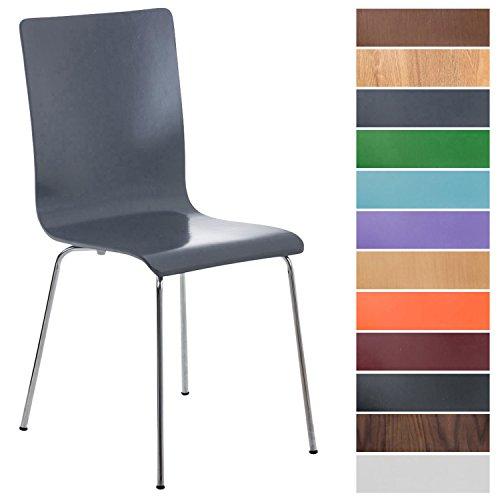 CLP Wartezimmerstuhl Pepe mit ergonomisch geformten Holzsitz und Metallgestell I Konferenzstuhl I erhältlich, Farbe:grau