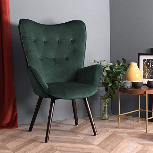 FURNISH1 Sessel Wohnzimmerstuhl mit kontrastierenden Armlehnen, braunen Buchenbeinen, schwarz lackiertem Gestell, Velours- und Knopffüllung - Dunkelgrün