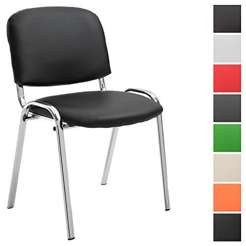 Konferenzstuhl Ken Chrom mit hochwertiger Polsterung und Kunstlederbezug I Stapelstuhl mit robustem Metallgestell in Chromoptik, Farbe:schwarz