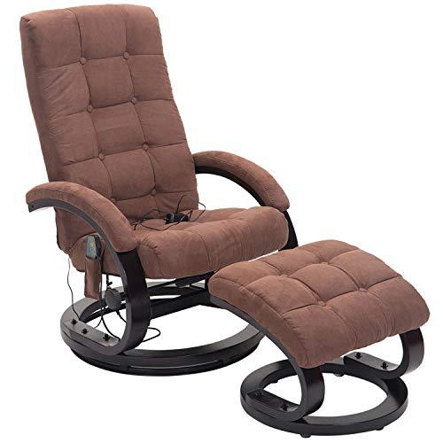 HOMCOM Massagesessel mit Hocker TV Sessel Relaxsessel Fernsehsessel mit Heizfunktion 2 Farben (Braun)