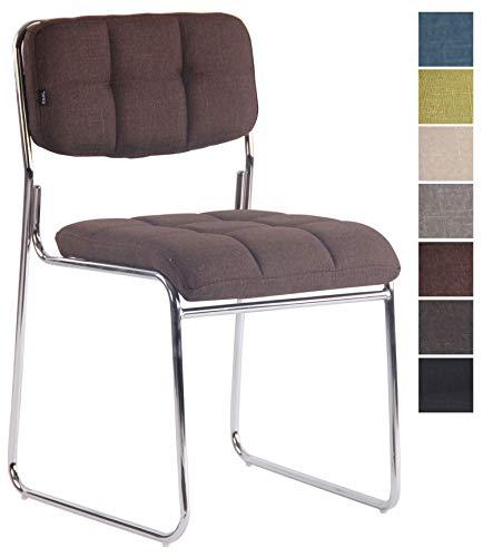 CLP Besucherstuhl GERA mit hochwertiger Polsterung und Stoffbezug I Stapelstuhl mit gepolsterter Sitzfläche und Rückenlehne Braun