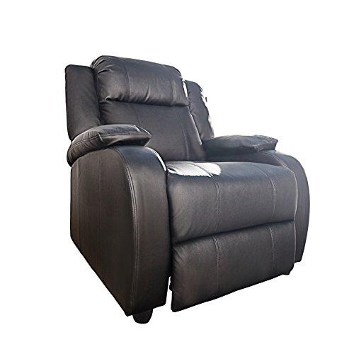 Invicta Interior Moderner Relaxsessel Hollywood Kunstleder schwarz verstellbar Liegesessel Sessel Fernsehsessel Wohnzimmer mit Liegefunktion